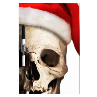 Santa Claus Skull Hat Skeleton Dry Erase Board