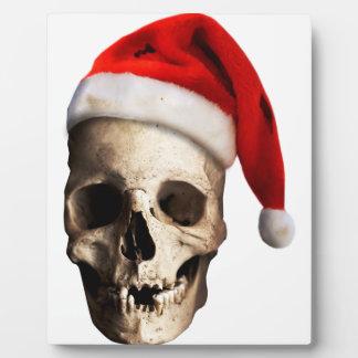 Santa Claus Skull Hat Skeleton Plaque