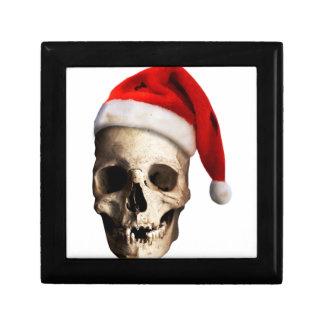 Santa Claus Skull Hat Skeleton Small Square Gift Box
