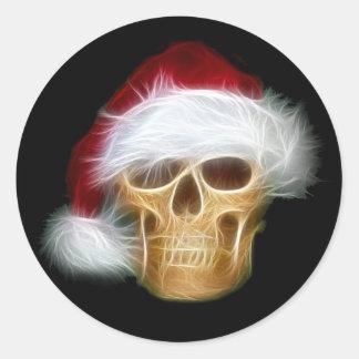 Santa Claus skull Round Sticker