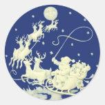 Santa Claus Sleigh Night Ride Christmas Blue White Round Sticker
