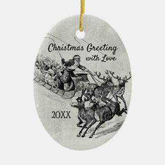 Santa Claus Sleigh & Reindeer Old World Monochrome Christmas Ornament