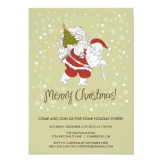 "Santa Claus & Snowflakes Holiday Party Invitation 5"" X 7"" Invitation Card"