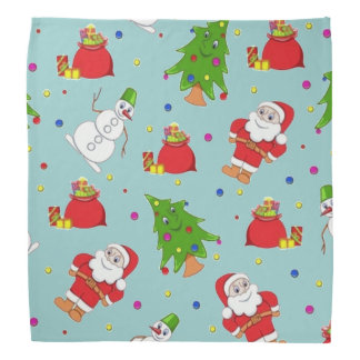 Santa Claus, Snowman and Tree Christmas Bandana