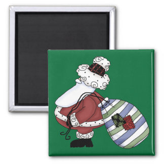 Santa Claus St Nick Jolly Merry Christmas Square Magnet