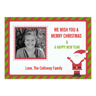 Santa Claus Striped Christmas Card 13 Cm X 18 Cm Invitation Card