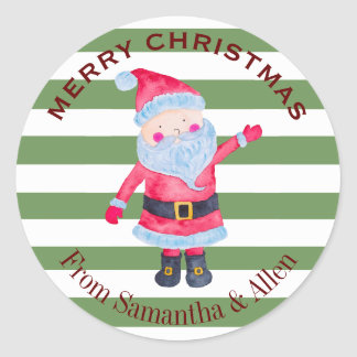 Santa Claus Stripes Personalised Classic Round Sticker