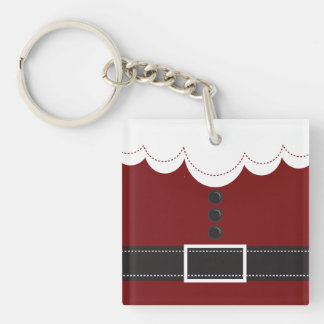 Santa Claus Suit Christmas Holiday Design Double-Sided Square Acrylic Key Ring