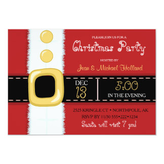 Santa Claus Suit Christmas Holiday Party 13 Cm X 18 Cm Invitation Card