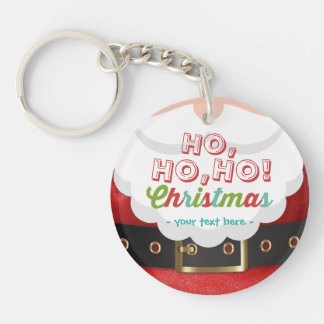 Santa Claus Suit Ho Ho Ho Christmas Happy New Year Double-Sided Round Acrylic Key Ring