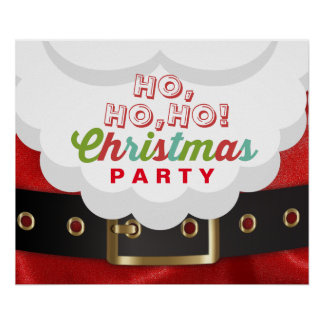 Santa Claus Suit Ho Ho Ho Christmas Happy New Year Poster