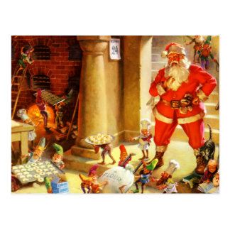 Santa Claus Supervises His Elves Baking Cookies Postcard