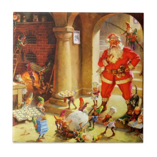 Santa Claus Supervises His Elves Baking Cookies Ceramic Tiles