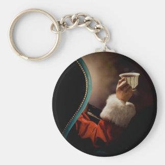 Santa Claus taking a break on Christmas Eve Basic Round Button Key Ring