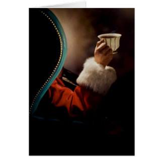 Santa Claus taking a break on Christmas Eve Cards