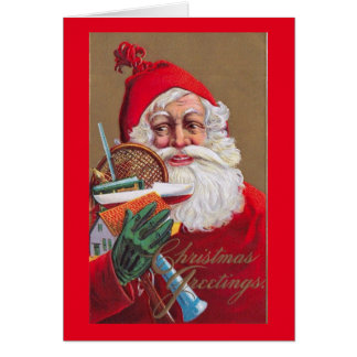 Santa Claus, Toys and Tennis, Christmas Vintage Card
