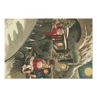 Santa Claus Train Holly Garland Children Photo Art