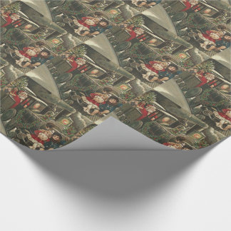 Santa Claus Train Holly Garland Children Wrapping Paper