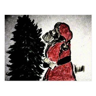 santa claus & tree postcard