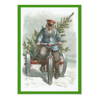 Santa Claus Tricycle Delivering Christmas Tree 13 Cm X 18 Cm Invitation Card