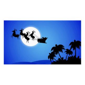 Santa Claus Tropical Christmas Tree Business Cards