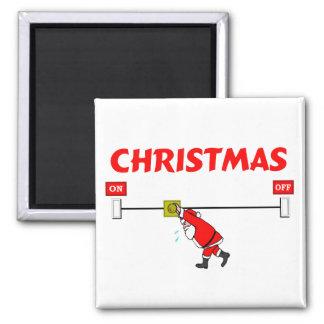 Santa Claus Turning On Christmas Fridge Magnet
