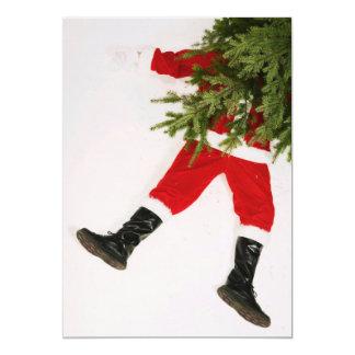 Santa Claus underneath Christmas tree 13 Cm X 18 Cm Invitation Card