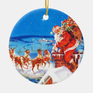 Santa Claus Up On The Rooftop In The Snow Christmas Ornament