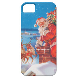 Santa Claus Up On The Rooftop With His Reindeer iPhone 5 Cover