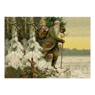 Santa Claus Vintage Antique Christmas Tree Poster