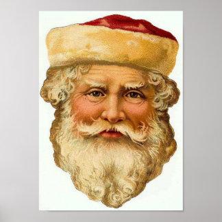 Santa Claus Vintage Card Print
