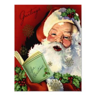 Santa Claus Vintage Flat Card 11 Cm X 14 Cm Invitation Card