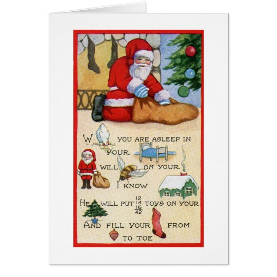 Santa Claus Vintage Poem, Christmas, Art Deco Card