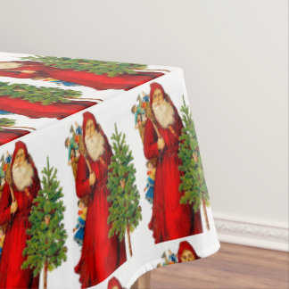 SANTA CLAUS - VINTAGE SANTA-CHRISTMAS DINNER TABLECLOTH
