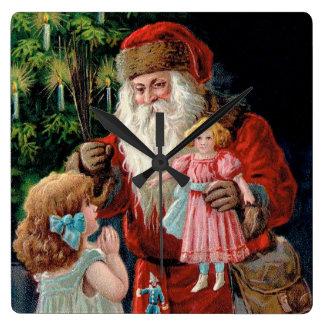 Santa Claus Visiting a Girl Square Wall Clock