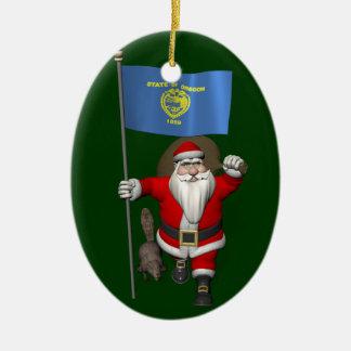 Santa Claus Visits The Beaver State Ceramic Oval Decoration
