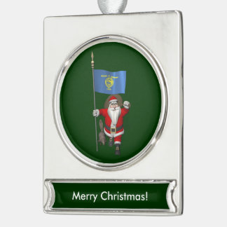 Santa Claus Visits The Beaver State Silver Plated Banner Ornament