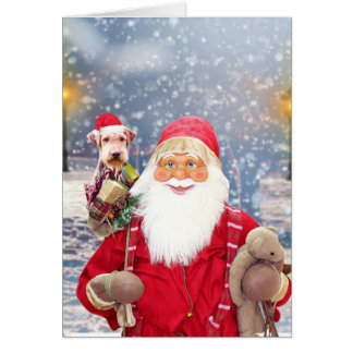 Santa Claus w Christmas Gifts Airedale Dog Card