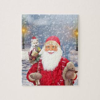 Santa Claus w Christmas Gifts American Eskimo Dog Jigsaw Puzzle