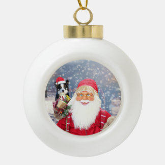 Santa Claus w Christmas Gifts Border Collie Dog Ceramic Ball Decoration