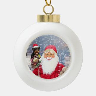 Santa Claus w Christmas Gifts Rottweiler Dog Ceramic Ball Christmas Ornament