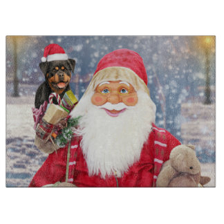 Santa Claus w Christmas Gifts Rottweiler Dog Cutting Board