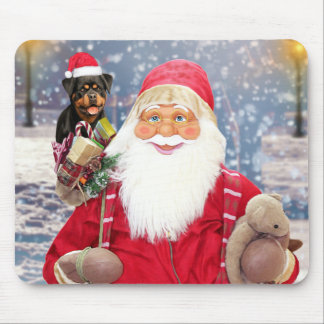 Santa Claus w Christmas Gifts Rottweiler Dog Mouse Mat