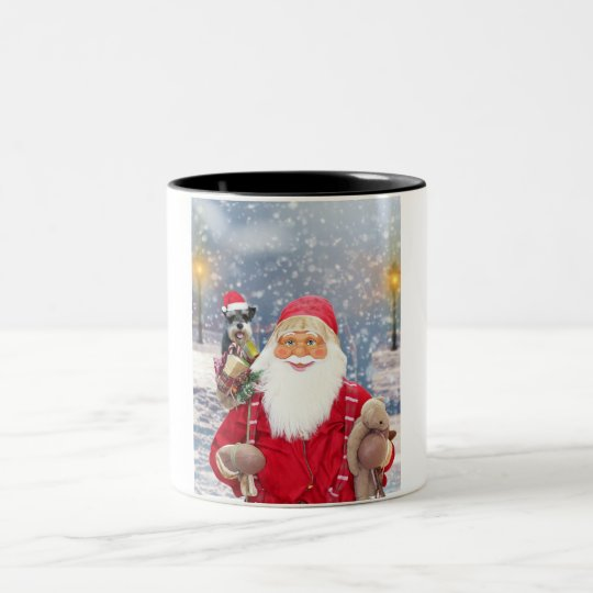 Santa Claus w Christmas Miniature Schnauzer Dog Two-Tone
