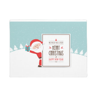 Santa Claus We Wish You A Merry Christmas Door Mat