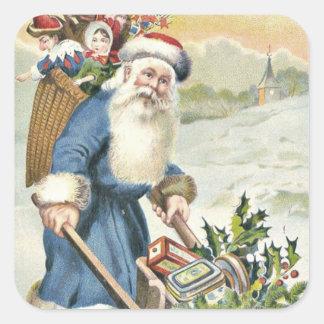 Santa Claus Wheelbarrow Evergreen Toys Candy Square Sticker