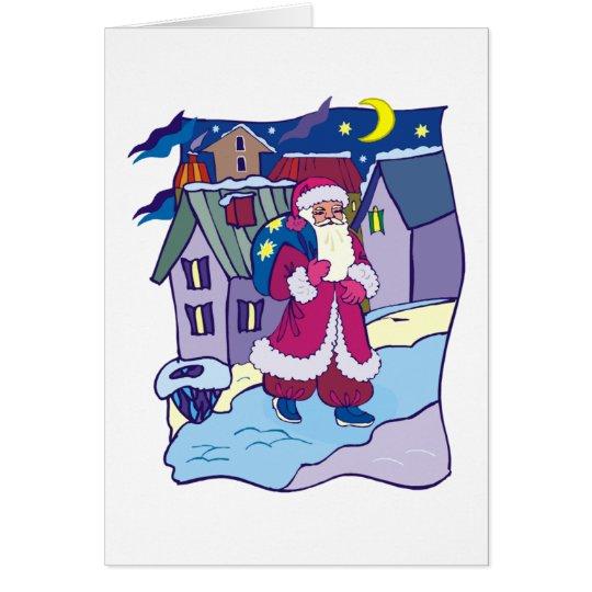 Santa Claus Winter Village Xmas Holiday Christmas Card