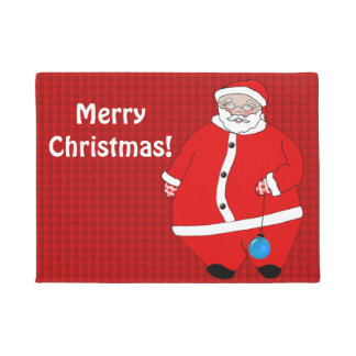 Santa Claus Wishes Visitors a Merry Christmas Doormat