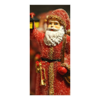 Santa Claus with a lantern Christmas decoration Rack Card