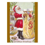 Santa Claus with a Sack Full of Toys Post Card